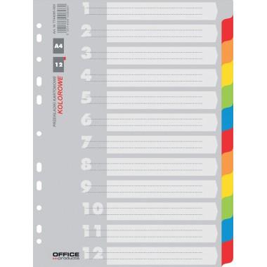 Skiriamieji lapai kartoniniai A4, 12sp.