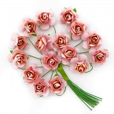 Popierinės gėlės ROŽĖ 2cm,16vnt. šv.raus