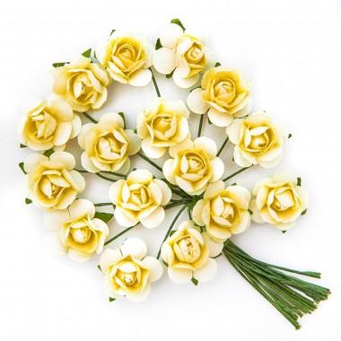 Popierinės gėlės ROŽĖ 2cm,16vnt.gelsva