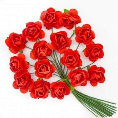 Popierinės gėlės ROŽĖ 2cm,16vnt.bordo
