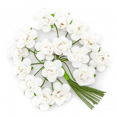 Popierinės gėlės ROŽĖ 2cm,16vnt.balta