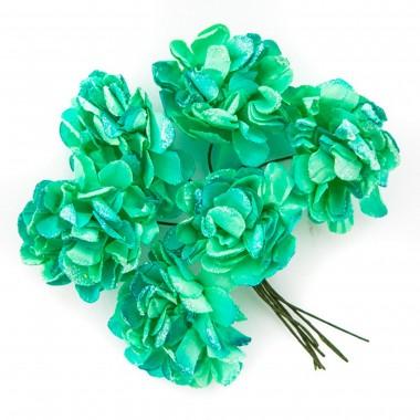 Popierinės gėlės GVAZDIKAS 3cm,6vnt.žals