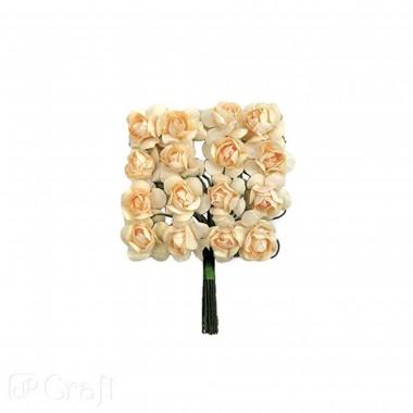 Popierinės gėlės ROŽĖS 2cm,16vnt.kremin.