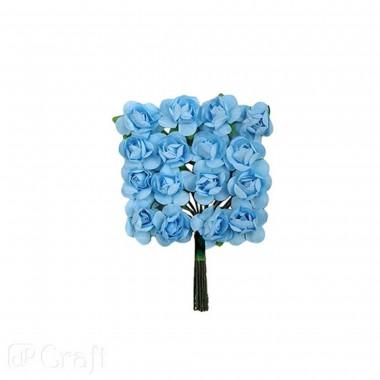 Popierinės gėlės ROŽĖS 2cm,16vnt.melsva