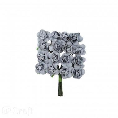 Popierinės gėlės ROŽĖS 2cm,16vnt.pilka