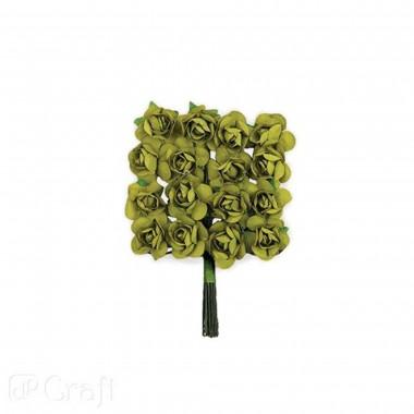 Popier.gėlės ROŽĖS 2cm,16vnt.samaninė