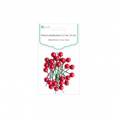 Dekor.raudonos uogos-adatėlės,12mm,24v
