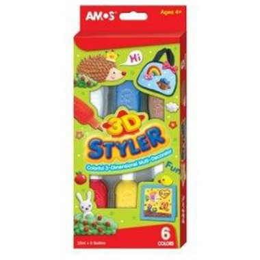 Dekor.dažai 3D Styler 22mlx6 AMOS