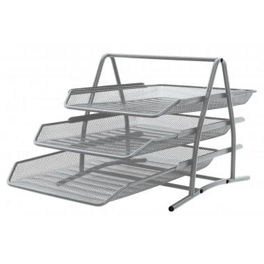 3-jų lentynėlių metalinis stovas sidabr.