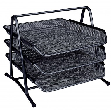 3-jų lentynėlių metalinis stovas juodas