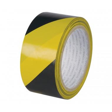 Signalinė juosta 48mm x 20m, juoda/gelt.