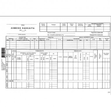 Asmens sąskaita 25l A4 2104
