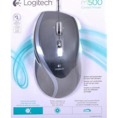 LOGITECH Mouse Corded M500 Black - Laser - Contoured - Hyper fast scrolling