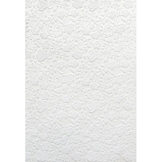 Kartonas veliūrinis ROŽĖ baltas 250g, 10lapų