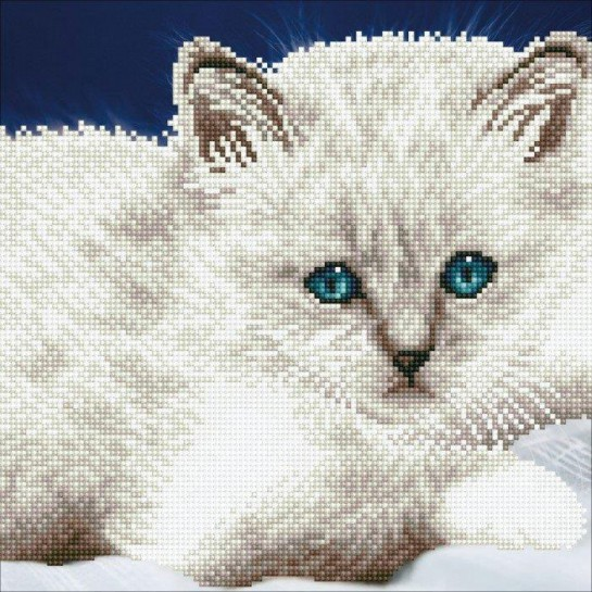 Deimantinė mozaika WHITE CAT 32x40