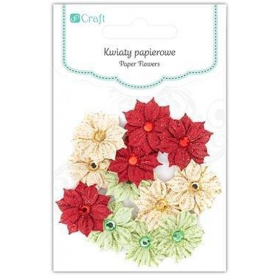 Gėlės popierinės su kristalais 12vnt