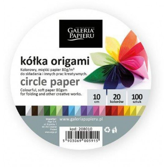 Origami popierius APSKRITIMAS mix 80g 100vnt